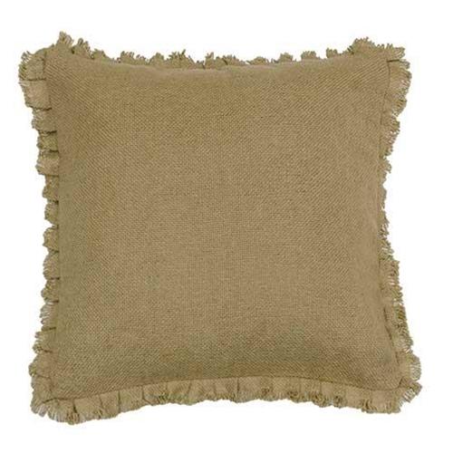 "Burlap Natural Fringed Pillow, 16"" Sq"