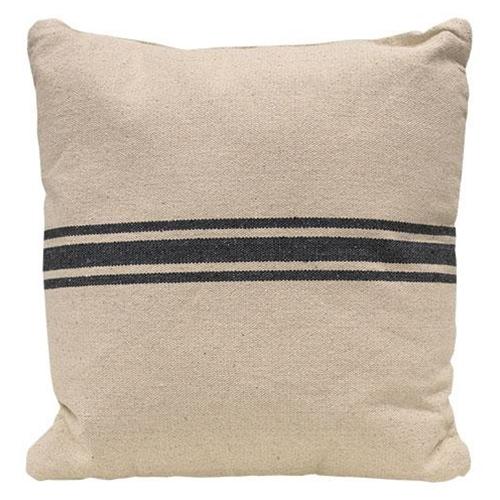 """Gray Stripe Grain Sack Pillow, 18"""" Sq"""