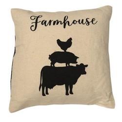Stacked Farmhouse Animals Pillow, 10x10
